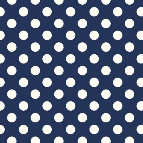 "Riley Blake - Dots (Navy/Antique)   3/4"" (1.75cm) spot Fabric"